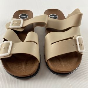 Women's Brown & Creme Sandal Shoes Size 7
